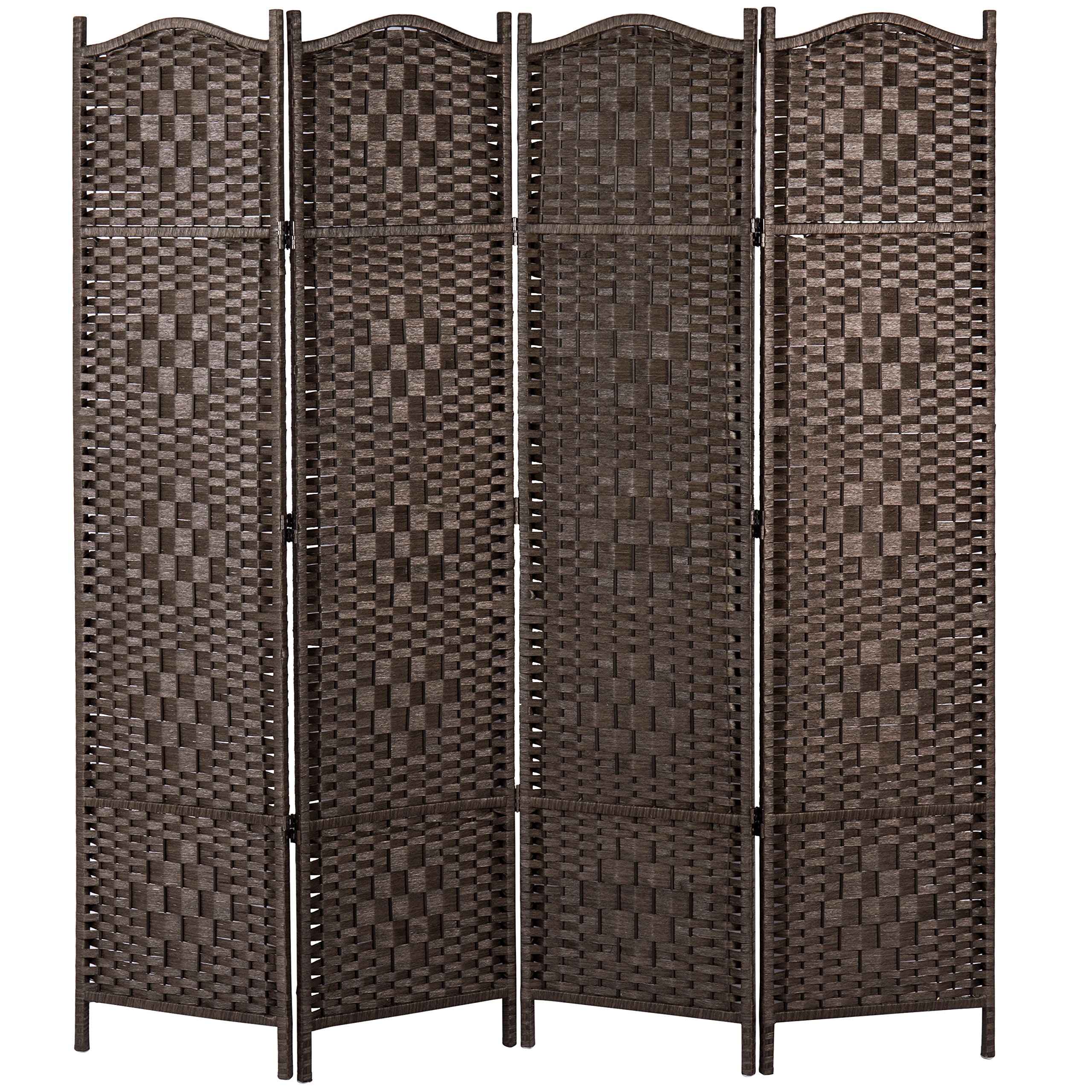 MyGift Freestanding Bamboo Woven Textured 4-Panel Partition Room Divider Folding Privacy Screen, Dark Brown by MyGift