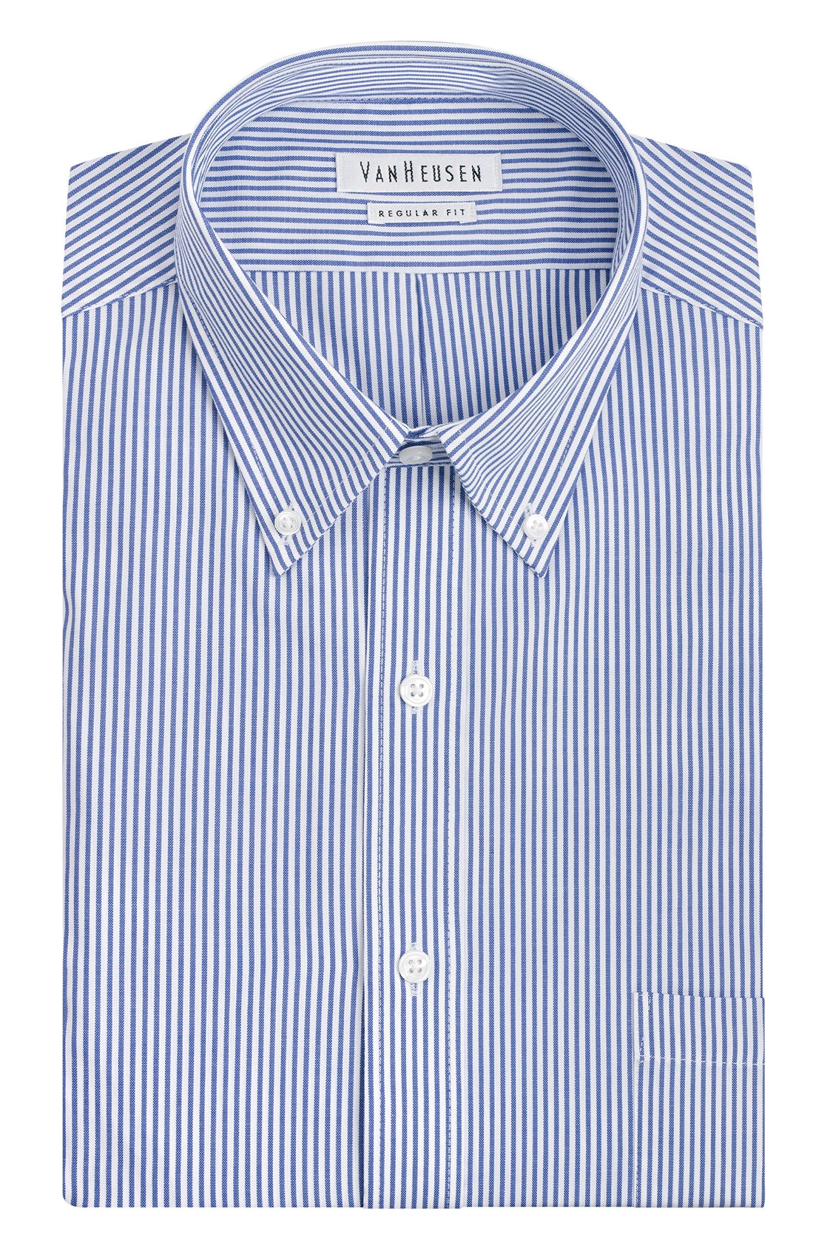 Van Heusen Men's Big and Tall Pinpoint Regular Fit Stripe Button Down Collar Dress Shirt, Blue, 18'' Neck 34''-35'' Sleeve