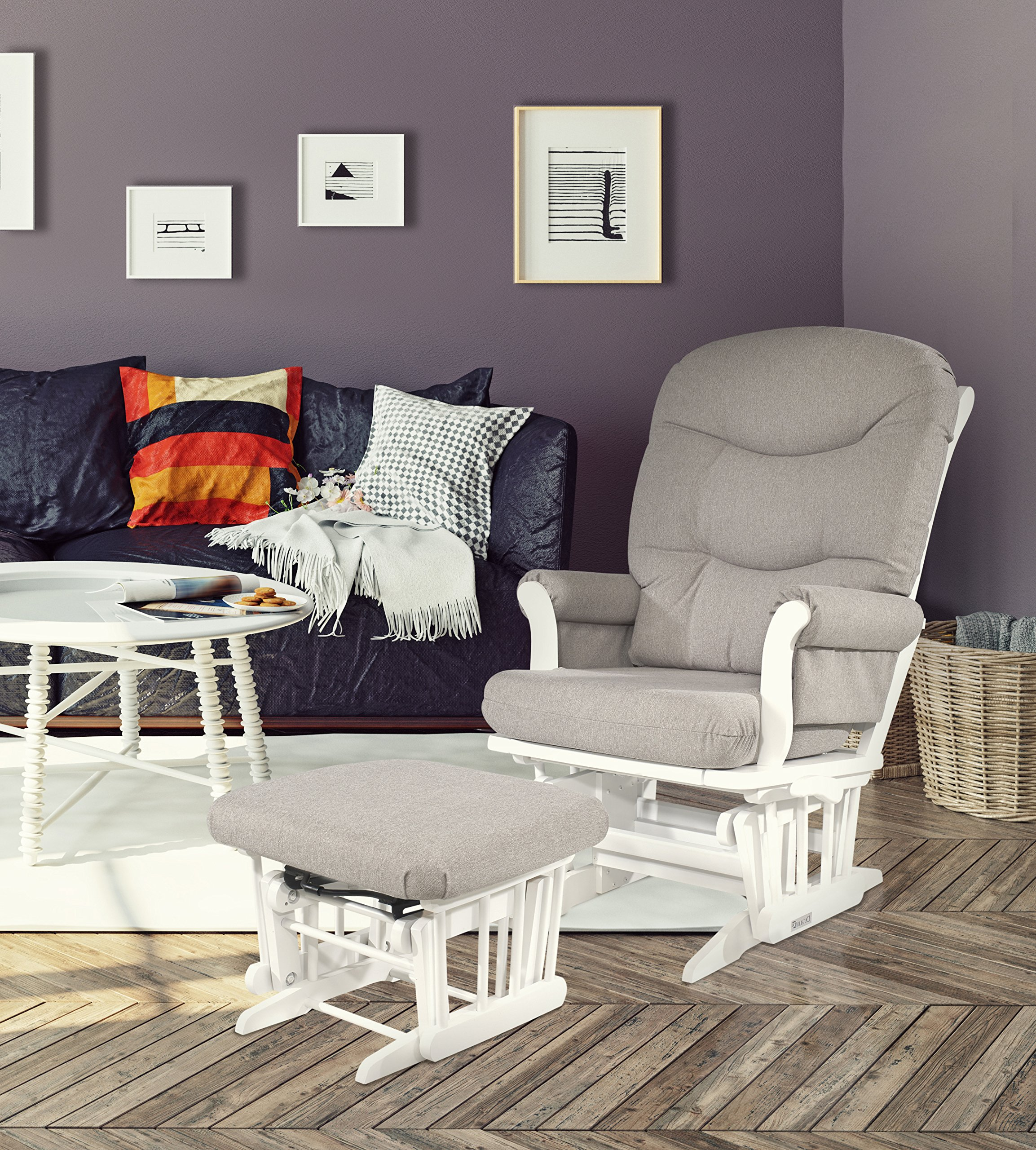 Dutailier Sleigh Glider-Multiposition, Recline and Ottoman Combo, WHITE FRAME/LIGHT GREY CUSHION by Dutailier