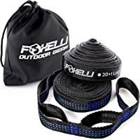 "Foxelli Hammock Straps XL €"" Camping Hammock Tree Straps Set (2 Straps & Carrying Bag), 20 ft Long Combined, 40+2 Loops, 2000 LBS No-Stretch Heavy Duty Straps for Hammock, Compact & Easy to Set Up"