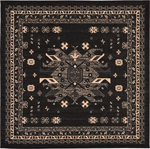 Unique Loom Taftan Collection Geometric Tribal Black Square Rug 8 0 x 8 0