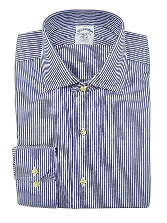 4460663e8f2 Brooks Brothers Men's Bold Striped Regent Fit Non Iron Dress Shirt Blue 16