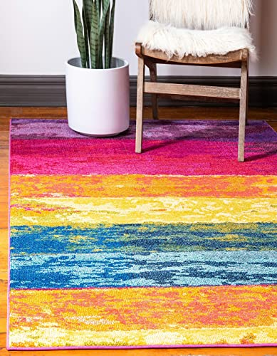 Unique Loom Estrella Collection Colorful Abstract Multi Area Rug 5' 0 x 8' 0