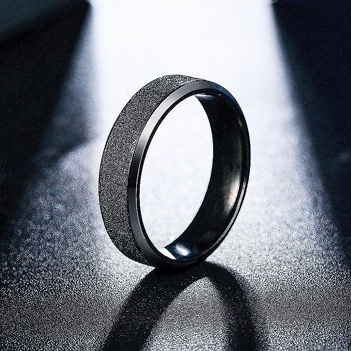 Yadoca Anillos Acero Inoxidable De Compromiso Matrimonio Anillos para Mujer Hombre Anillo Negro-Tone Blanco-Tone