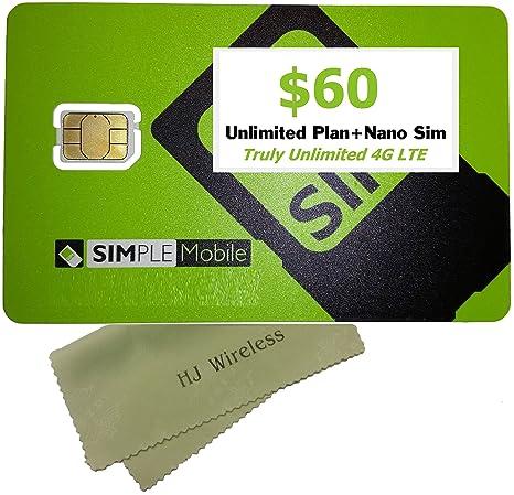 Amazon.com: Simple tarjeta nano sim móvil con $60 ...