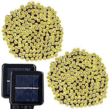 Solar String Lights, Lampat 300 Led Holiday String Lighting Outdoor Solar Patio  Lights Fit Christmas