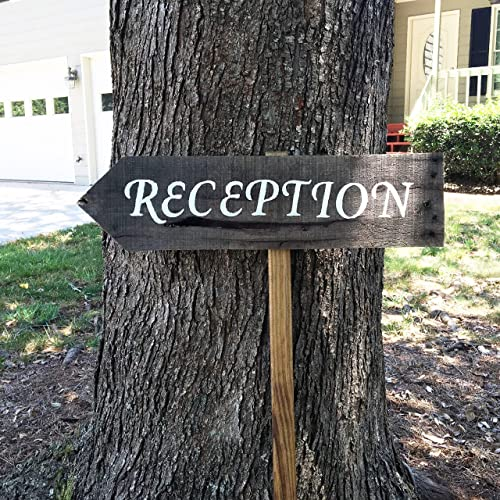Amazon Com Reception Sign Arrow Wedding Signs For Ceremony And Reception Rustic Reception Wooden Sign Handmade