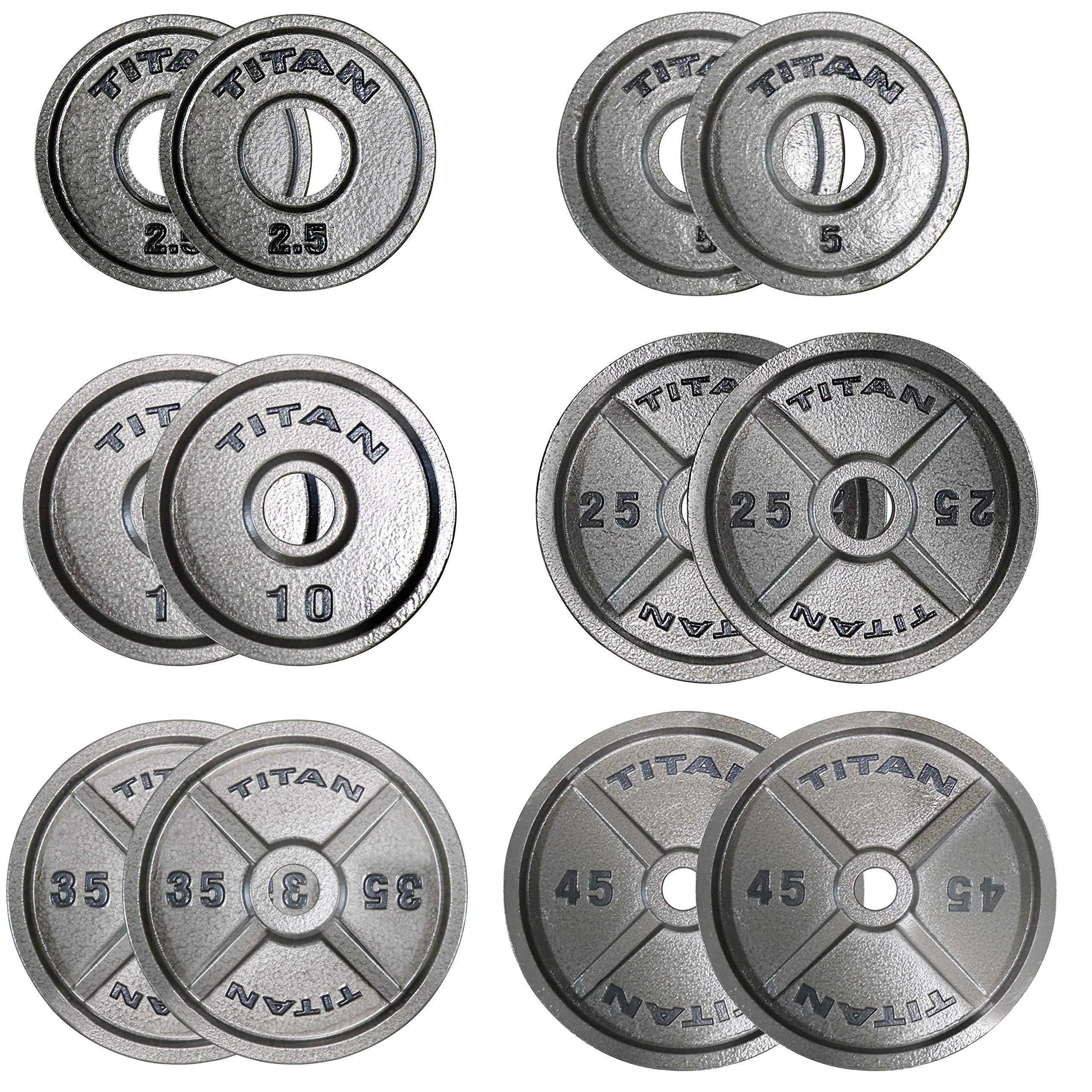Titan Cast Iron Olympic Weight Plates | 245 LB Set