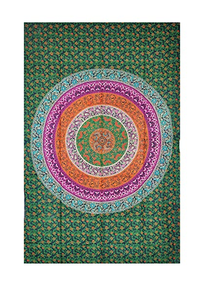 4455bfb0490bf UrbanDreamz-Green Mandala Indian Twin Wall Hanging Tapestry, Wall  Decorator, Indian Mandala Beach
