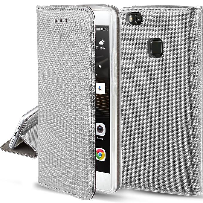 148 opinioni per Cover Huawei P9 Lite Argento- Custodia a libro Flip Smart magnetica de Moozy®