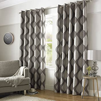 Simone Luxury plain printed fully lined curtains silver grey ...