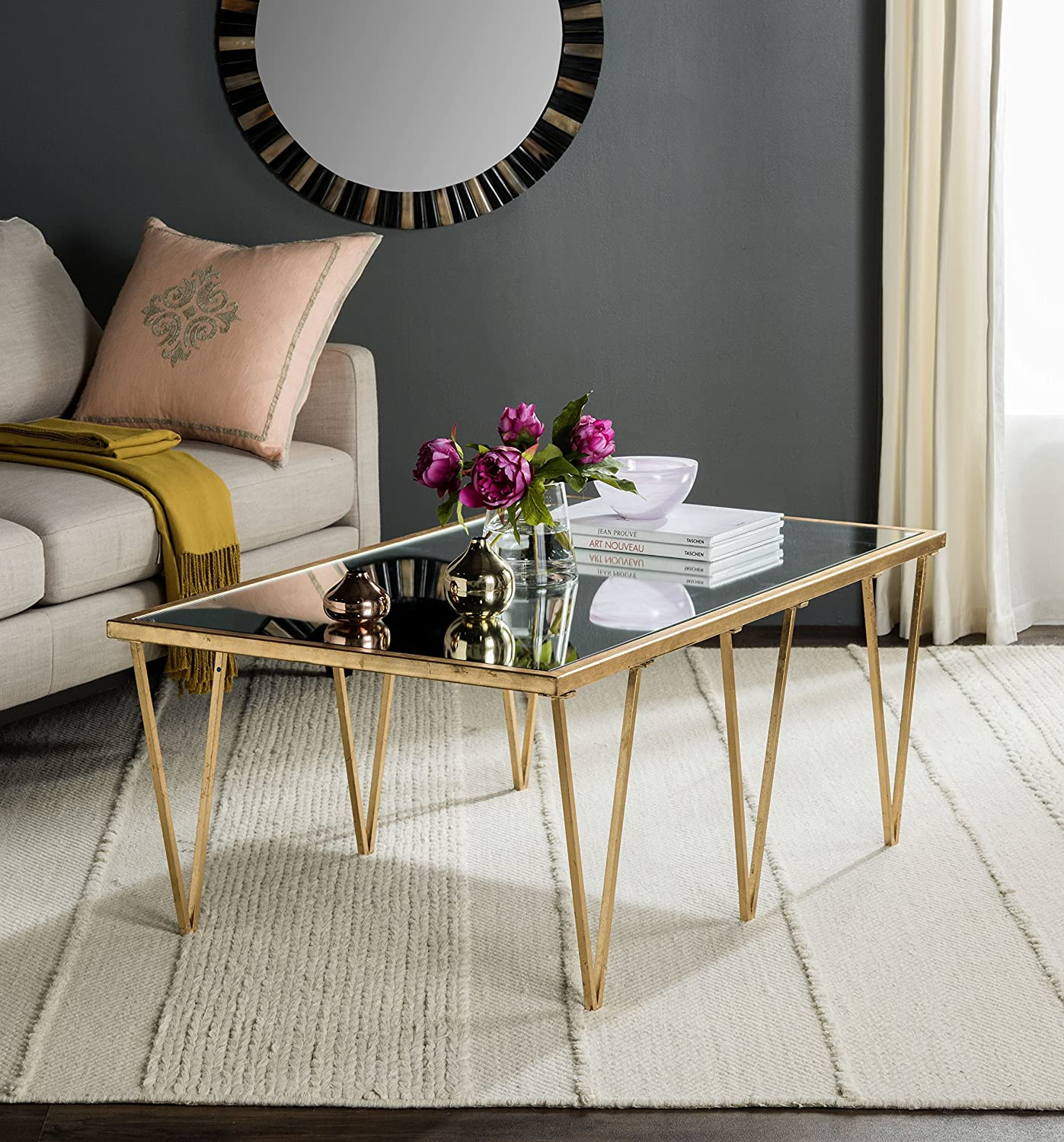 Amazon com safavieh home collection arlene gold coffee table kitchen dining