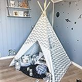 Tiny Land Tenda bambini Teepee per ragazzi, 1,5 m Grigio Chevron Tenda per bambini giochi per interni Decorazioni natalizie