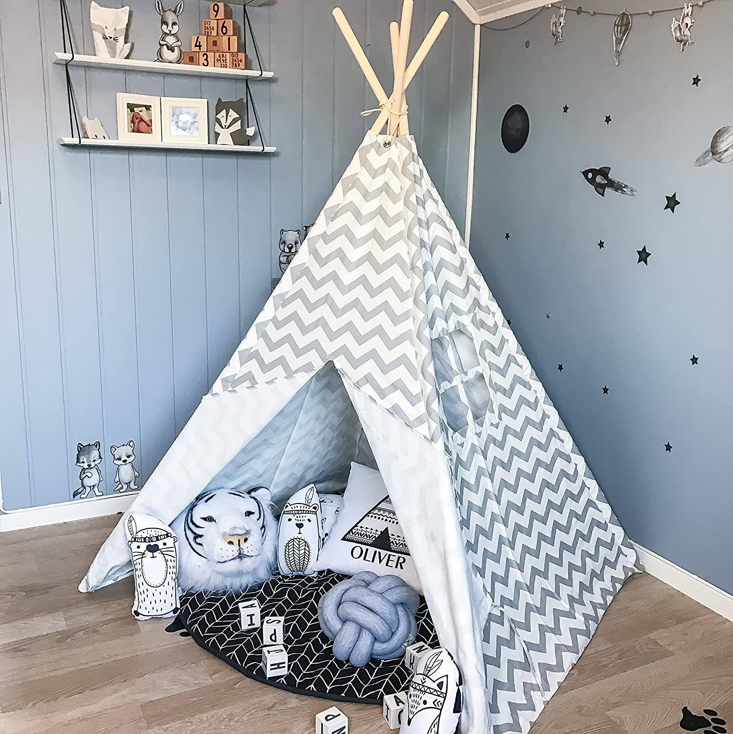 Tiny Land Teepee Tent for Kids Children Play Tent for Indoor Outdoor, Grey Chevron Canvas (150 cm Tall) TINY LAND INC.