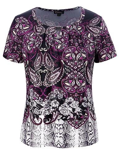 Chicwe Blusas Tops Tallas Grandes Mujeres Camiseta Estampado Floral Mezcaldo Escote Diseñado 1X-4X