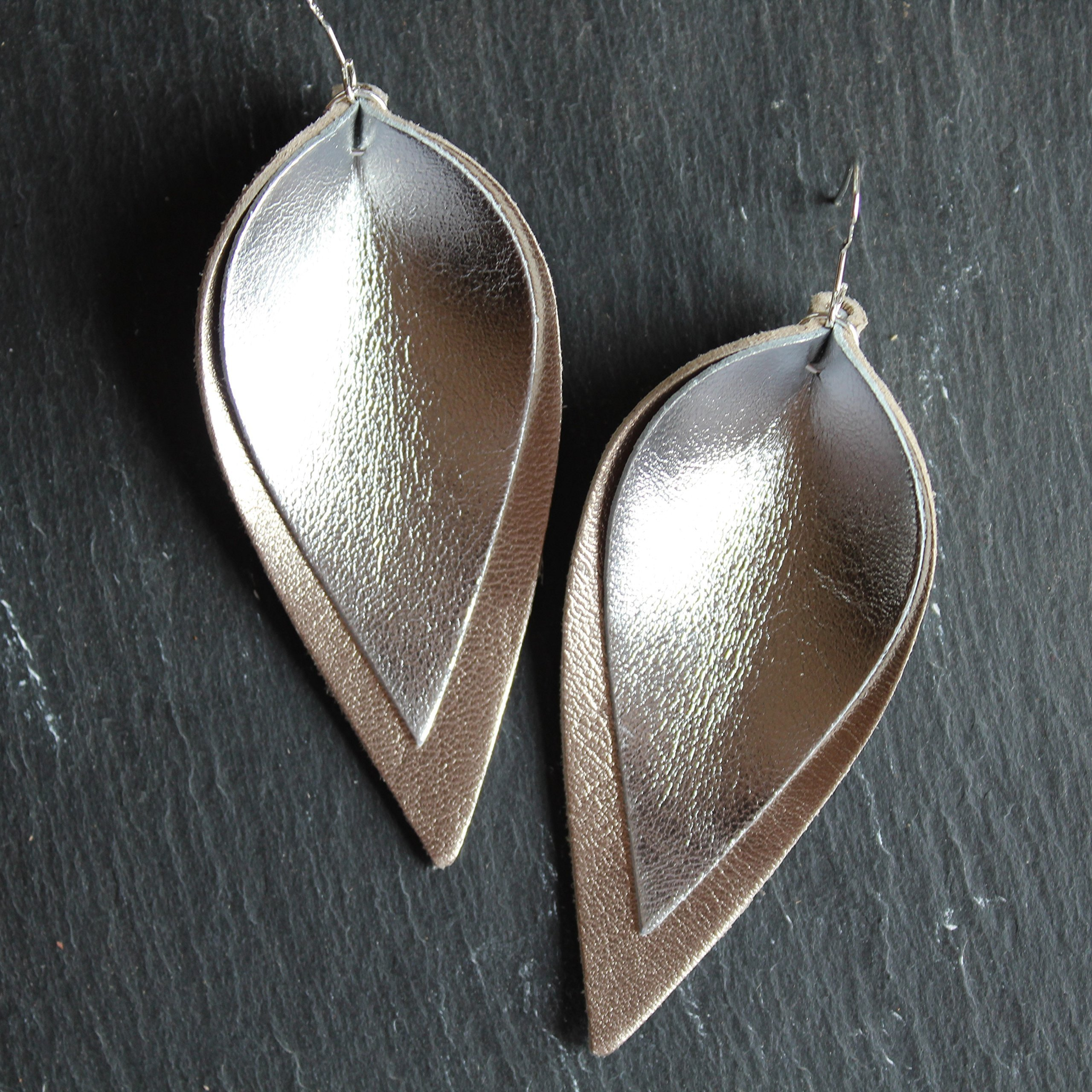 Silver on Gold Genuine Leather Leaf Earrings//Joanna Gaines Inspired