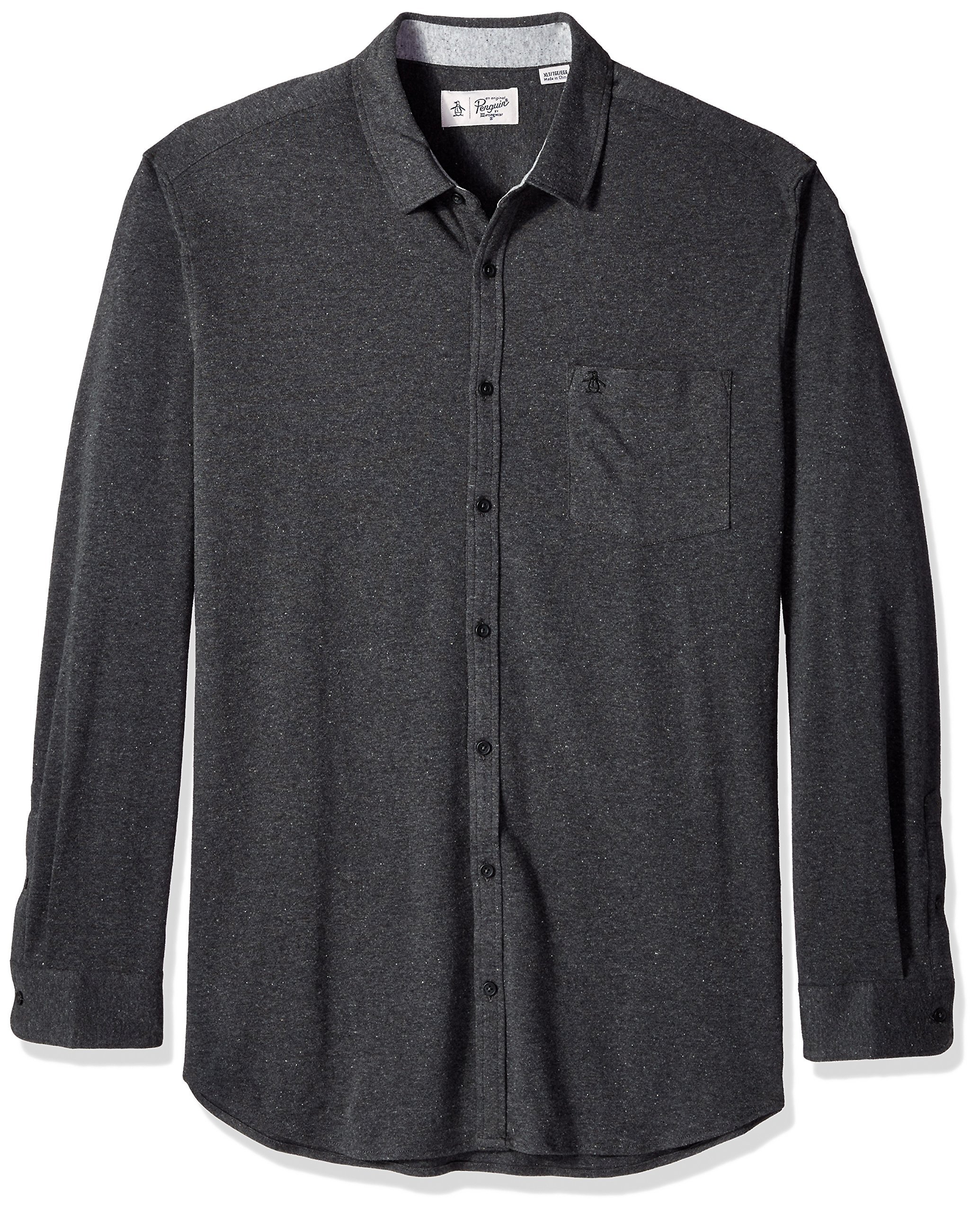 Original Penguin Men's Big Knitted NEP Shirt, Dark Charcoal, 4 XL-Extra Large/Tall