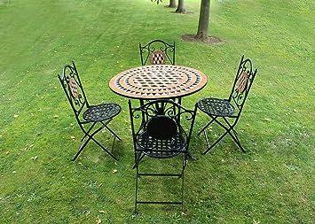 Kingfisher 5 Piece Black Mosaic Bistro Garden Patio Furniture Set