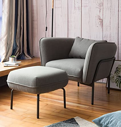 Modern Simplicity Industrial Style Frabic Club Chair With Ottoman One Seater Turtledove Grey Designed