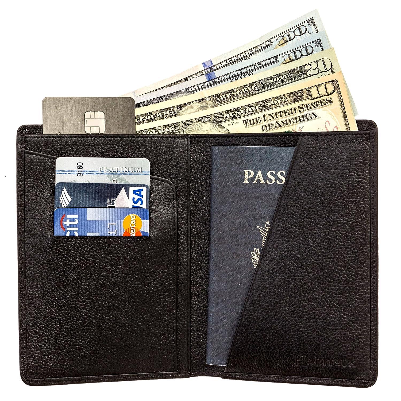 Black Portefeuille de Voyage en Cuir Portefeuille Homme ou Femme Portefeuille Passeport Portefeuille Passeport