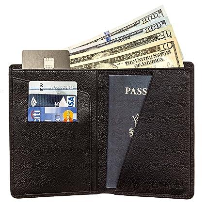 d73905e11f45 Portefeuille Passeport Portefeuille Passeport - Portefeuille de Voyage en Cuir  Portefeuille Homme ou Femme (Black