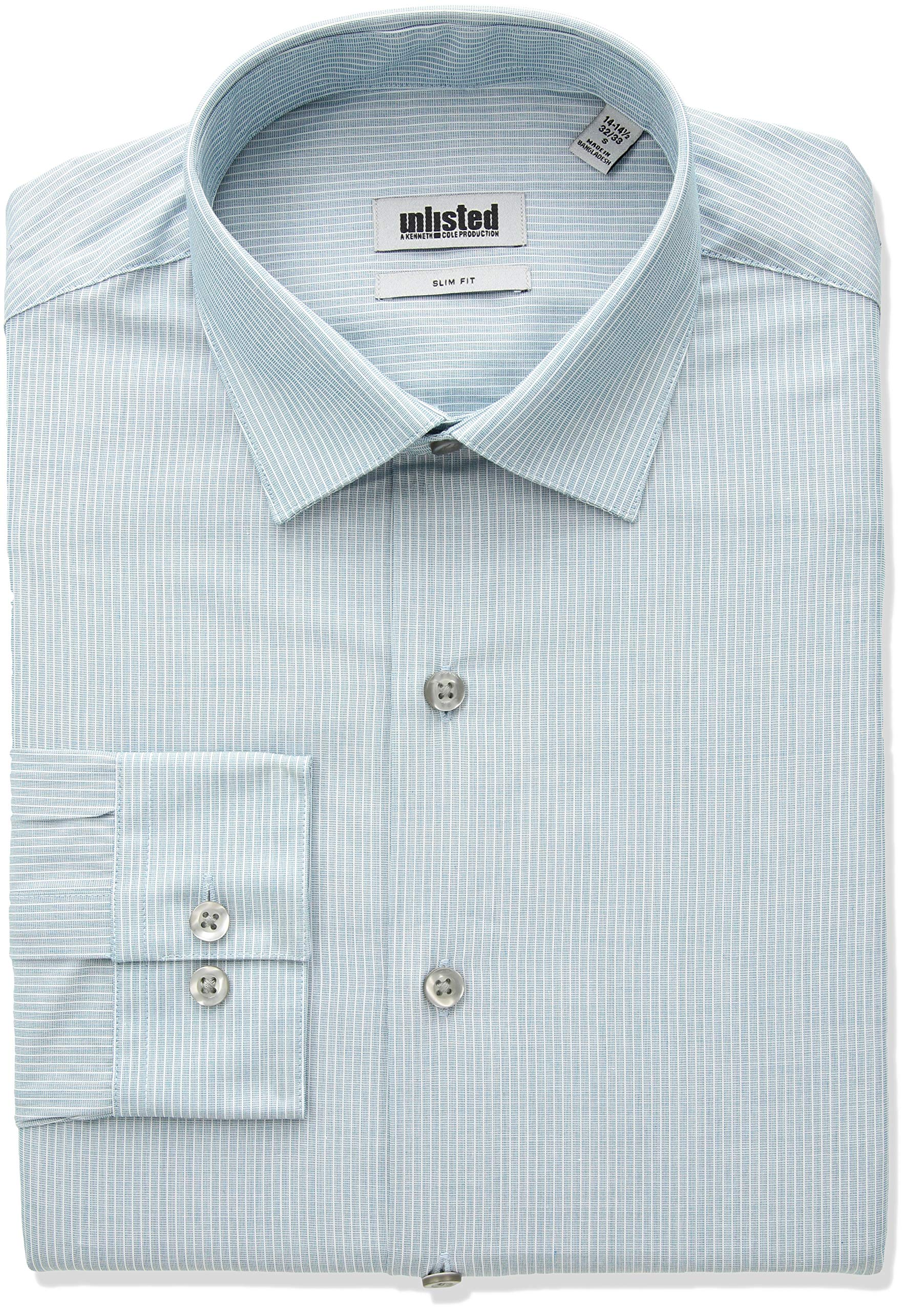 Kenneth Cole REACTION Men's Slim Fit Stripe Spread Collar Dress Shirt, Lagoon, 17''-17.5'' Neck 34''-35'' Sleeve