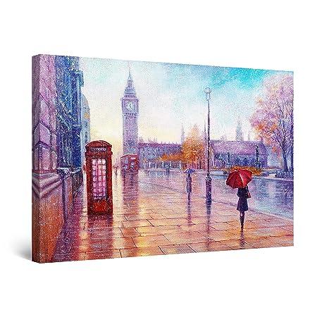 Startonight Quadro su Tela Violo Giorno di Pioggia a Londra ...