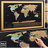 """Scratch Off Map of the World Premium XL Poster with US States and All Country Flags - Deluxe Extra Large 35 x 23½"""" Top Quality Travel Tracker Print 