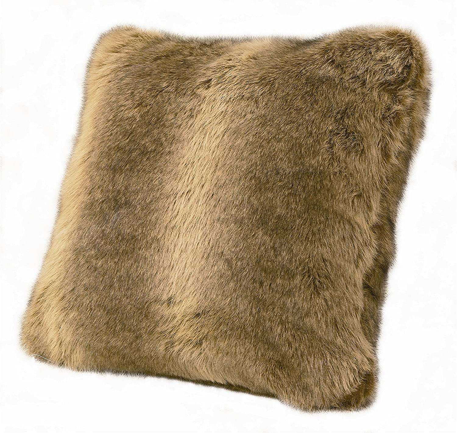 """HiEnd Accents Rustic Faux Wolf Fur Plush Throw Pillow, 22"""" x 22"""", Brown"""