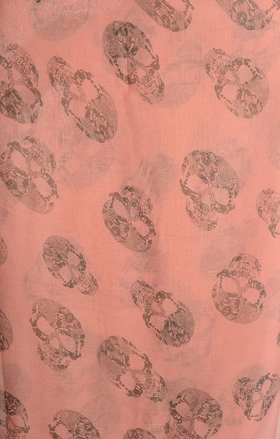 SF002332 Grey Lace Skulls On Pink Unisex Scarf and Beach Sarong