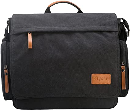 Amazon.com | Gysan Retro Unisex Casual Leather Canvas Satchel ...