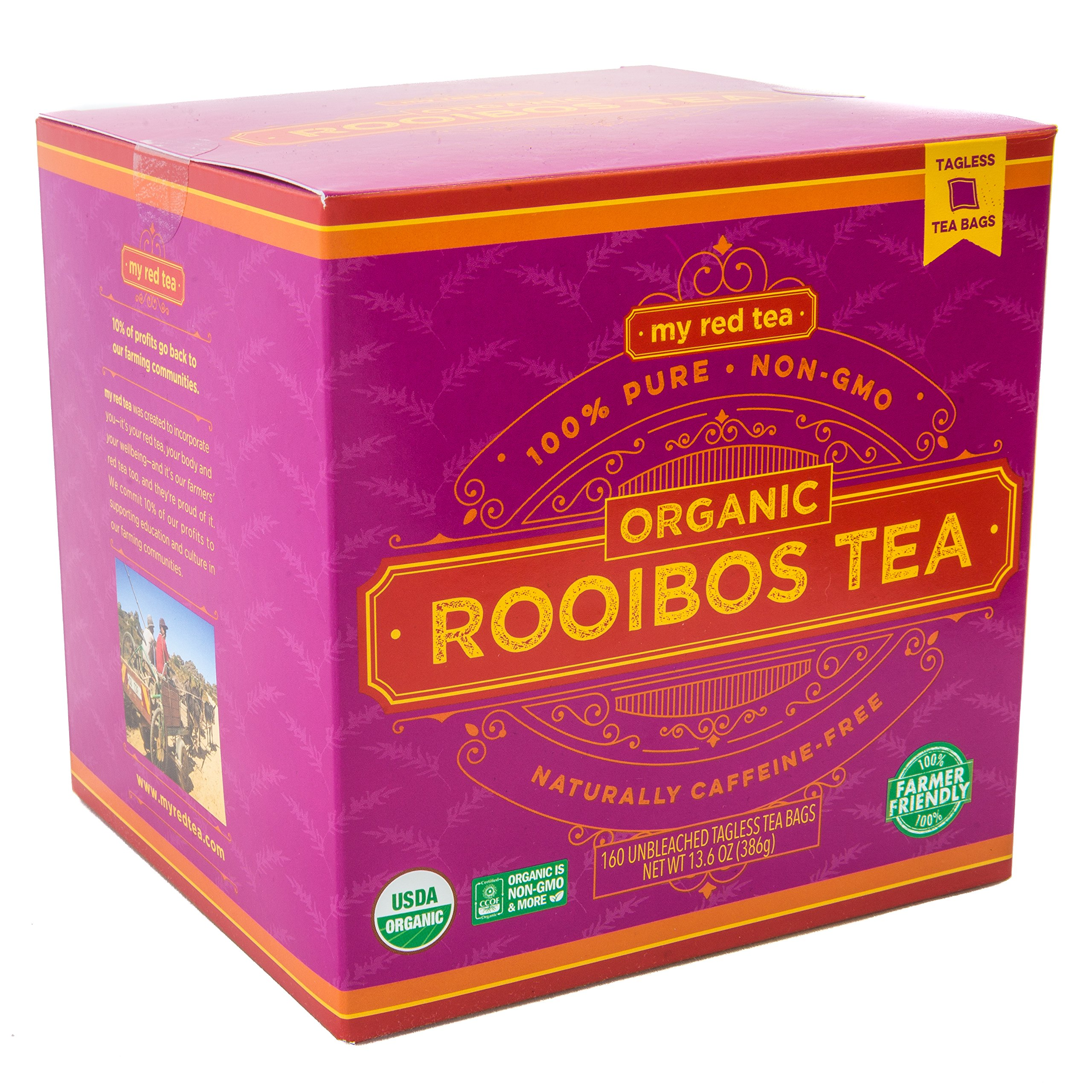 Rooibos Tea, USDA Certified Organic Tea, MY RED TEA. Tagless South African, 100% Pure, Single Origin, Natural, Farmer Friendly, GMO and Caffeine Free (160 Teabag) by My Red Tea