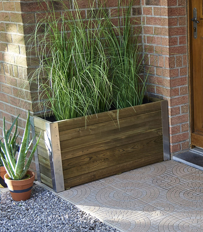 Hochbeet Bamboo 100 X 30 X 50 Cm Amazon De Garten