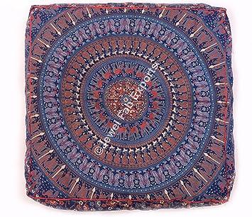 Indio Mandala tapiz Mandala cama perro cama, puf Otomano para meditación suelo Euro Sham almohada