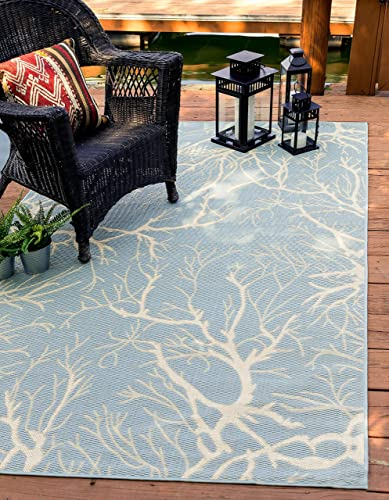 Unique Loom Outdoor Botanical Collection Abstract Pictorial Transitional Indoor and Outdoor Flatweave Light Blue Area Rug 4' 0 x 6' 0