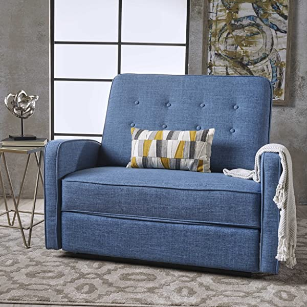 Callade Buttoned Muted Blue Fabric Reclining Loveseat
