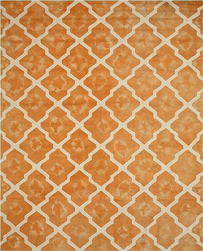 EORC T128OR Hand Tufted Wool Tie-dye Moroccan Rug, 7 9 x 9 9, Orange