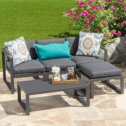 nealie patio furniture 5 piece outdoor aluminum sofa set dark grey - Garden Funiture Set