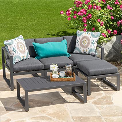 Merveilleux Nealie Patio Furniture ~ 5 Piece Outdoor Aluminum Sofa Set (Dark Grey)