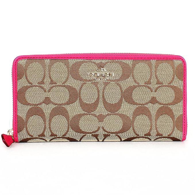 Coach 53618 - Cartera con cremallera (12 cm), color caqui y rosa: Amazon.es: Ropa y accesorios