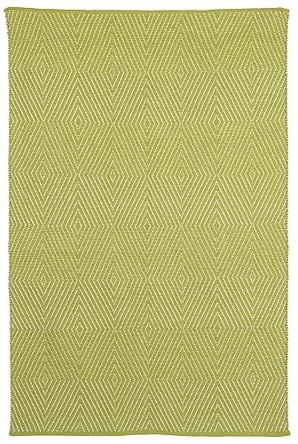 Fab Habitat Zen Flat Weave Recycled Cotton Rug, Dark Citron Bright White, 4 x 6