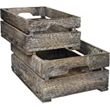 Set Of 2 Country Rustic Finish Wood Storage Crate / Decorative Tray Carrier  Boxes W/