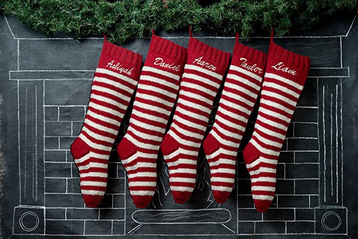 5 christmas stockings red white striped with option personalization - Striped Christmas Stockings