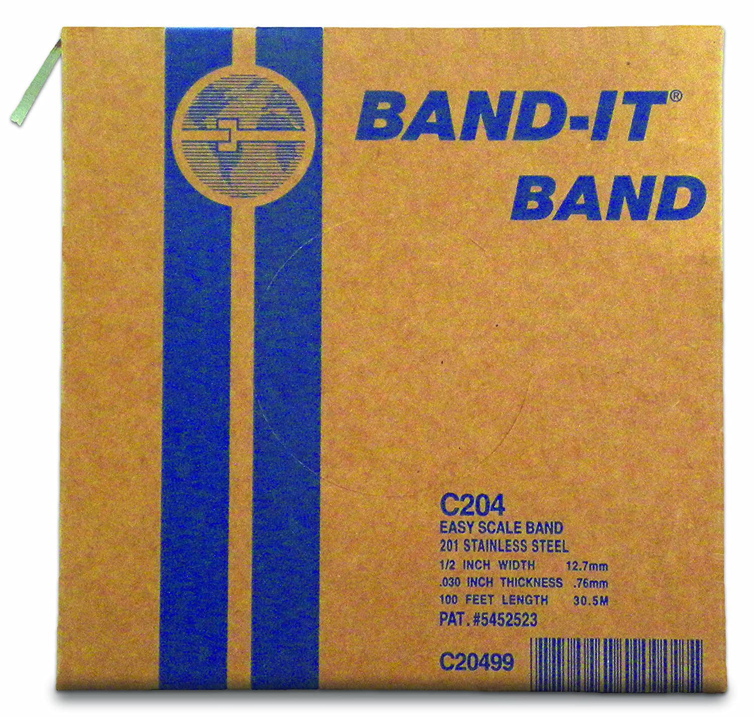 """BAND-IT C20499 201 Stainless Steel Bright Annealed Finish Band, 1/2"""" Width X 0.030"""" Thick, 100 Feet Roll"""