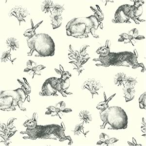 York Wallcoverings Ashford Toiles Bunny Toile Prepasted Removable Wallpaper, White/Black