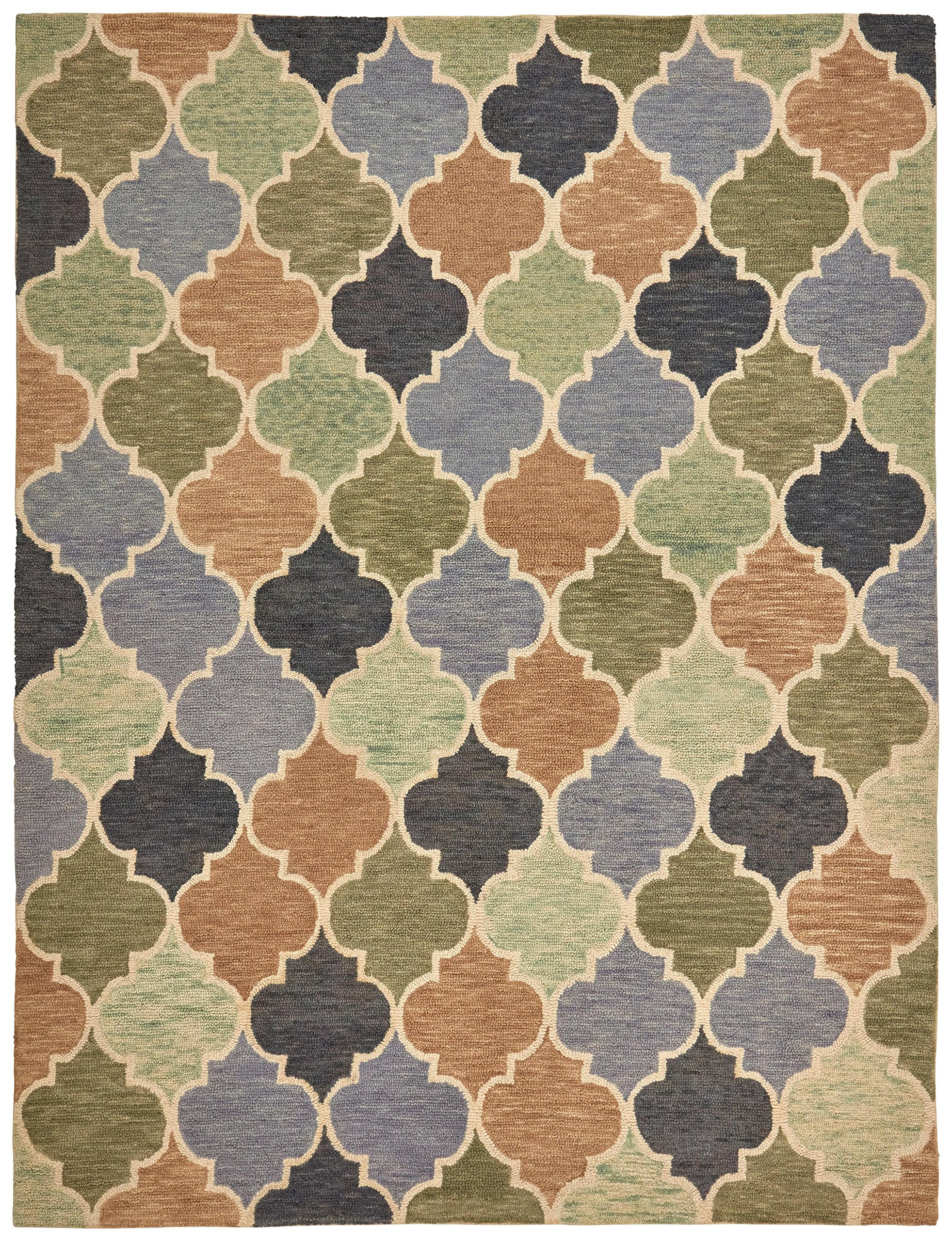 Stone & Beam Quarterfoil Wool Area Rug, 4' x 6', Light Multi