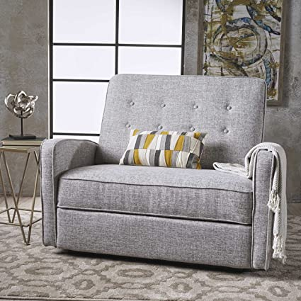 Outstanding Callade Buttoned Light Grey Tweed Fabric Reclining Loveseat Creativecarmelina Interior Chair Design Creativecarmelinacom