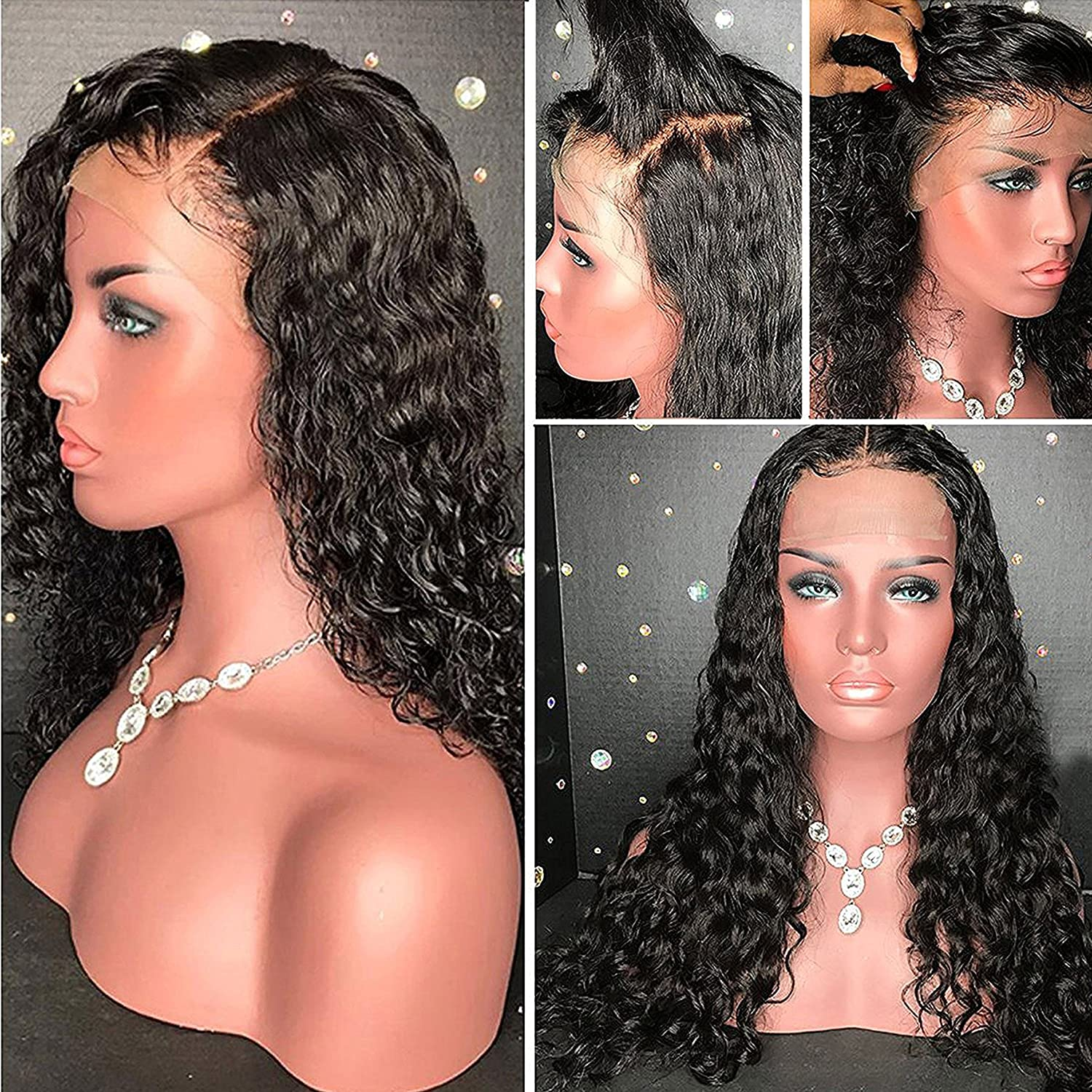 Full Lace Wigs with Bleached Knots Brazilian Virgin Human Hair Wigs Glueless Wigs for Black Women Lace Front Wigs with Baby Hair (14 inch Full Lace Wig, 130% Density) A1m-wjLKfLL