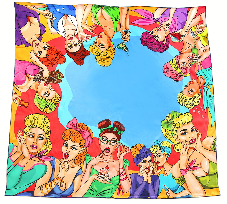 100% silk square scarf bluee yellow wrap Pop Art Girls   printed women's scarves