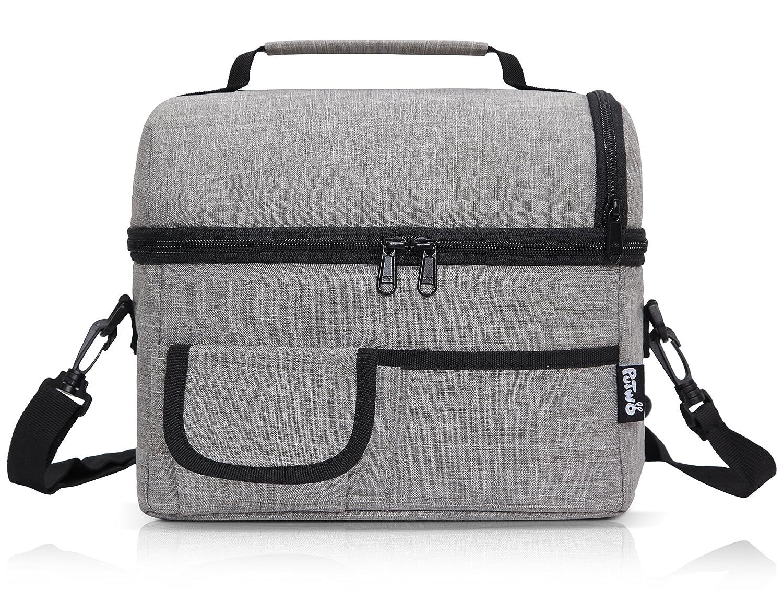 PuTwo bolsa de almuerzo de gran capacidad con aislamiento con correa para